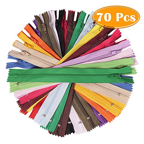 Paxcoo 70Pcs 12 inch Assorted Zippers Bulk for Sewing (Sewing Zipper)