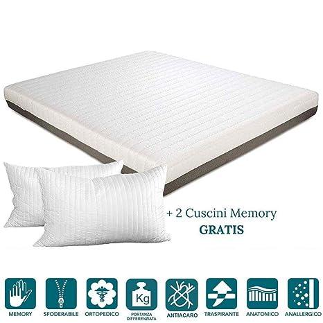 EvergreenWeb – Colchón Memory Foam Alto 20 cm con Almohadas Cama Gratis, Revestimiento extraíble antiácaros
