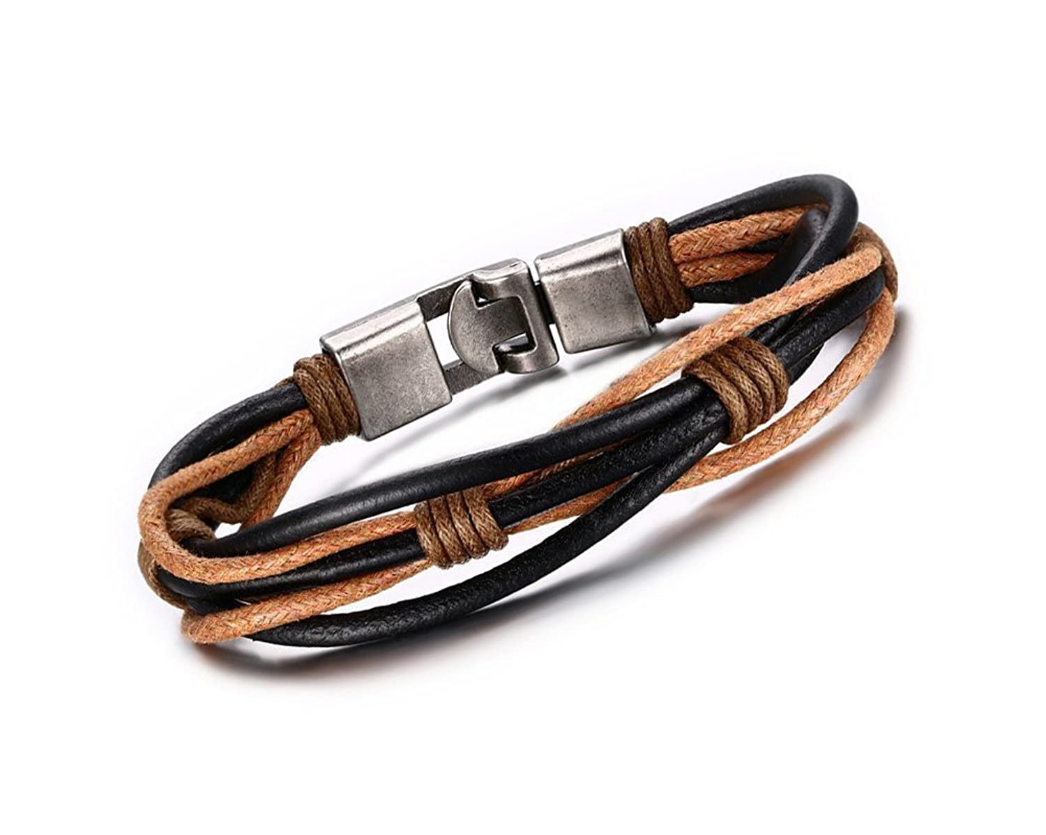 Men's Quality Leather Woven and Braided Black and Tan Cuff Bracelet