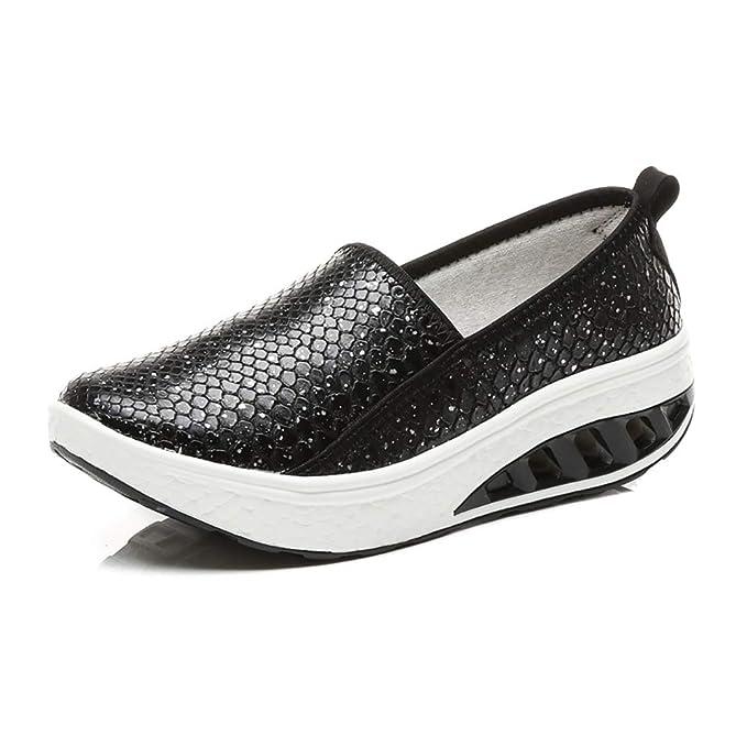 FHTDW Zapatillas De Cuña Con Plataforma De Cuero Para Mujer Zapatillas Sin Cordones, Zapatillas Deportivas: Amazon.es: Ropa y accesorios