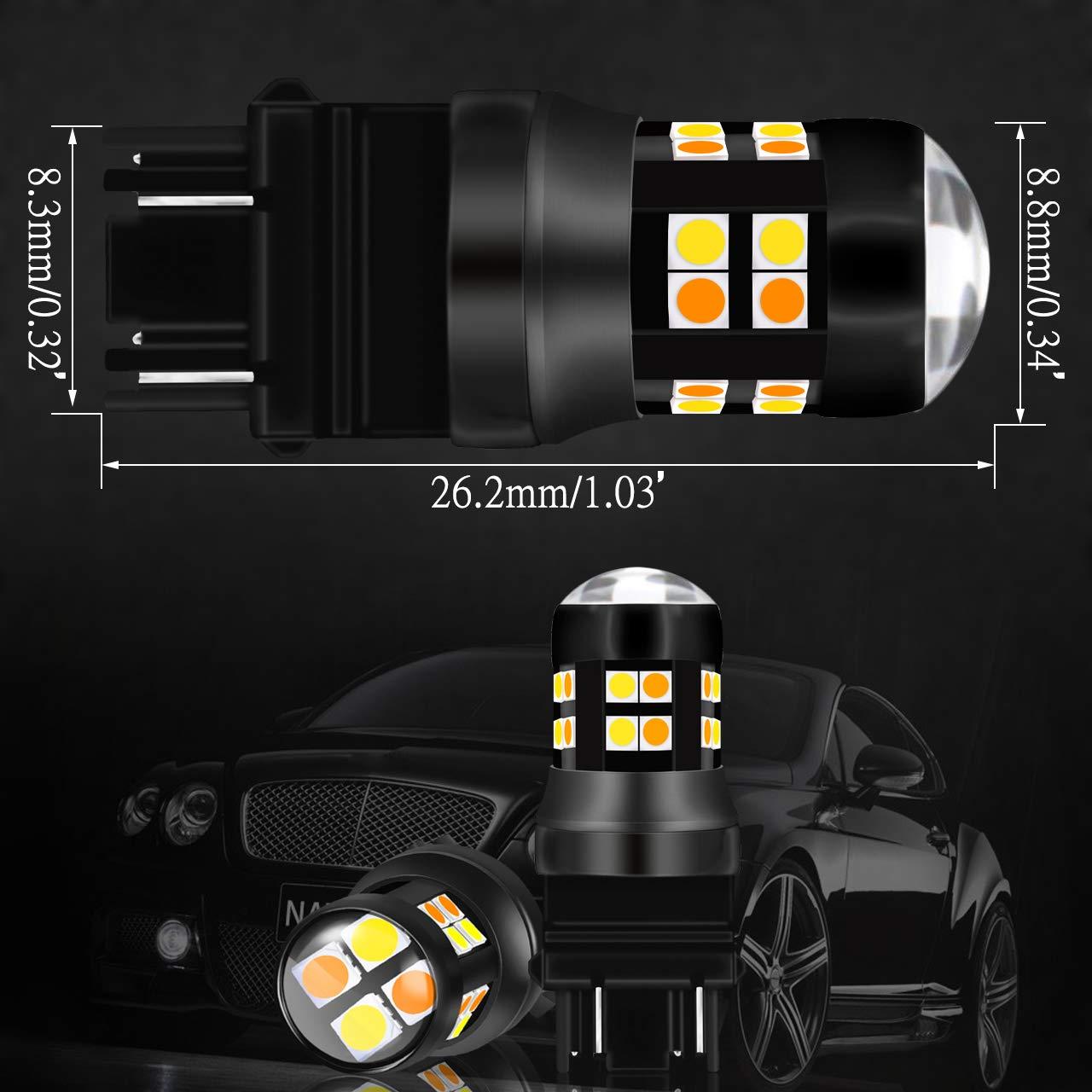 NGCAT 3157 3156 3047 3057 LED Bulb 6500K 1200LM 3030 24-SMD Dual Color White//Amber Canbus Error Free for Switchback Turn Signal Light with 50W 8ohm Load Resistors 2PCS Led Bulb + 2PCS Load Resistors