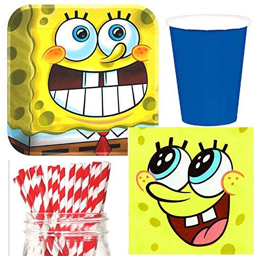 Spongebob Square Pants Party Supplies Bundle, Plates, Napkins, Cups & Straws for 16 Guests