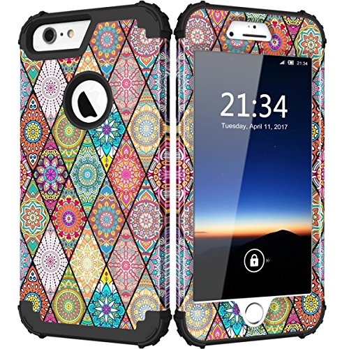 iPhone 6s Plus Case, Hocase Drop Protection Shockproof Silicone Rubber Bumper+Hard Shell Hybrid Dual Layer Full-Body Protective Case for iPhone 6 Plus/iPhone 6s Plus 5.5 - Mandala Flowers/Black