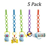 Baby Pacifier Clips,Silicone Toy Safety Straps,Sippy Cup Strap for Stroller,High Chair,Cars,Hanging Baskets,5 Pack