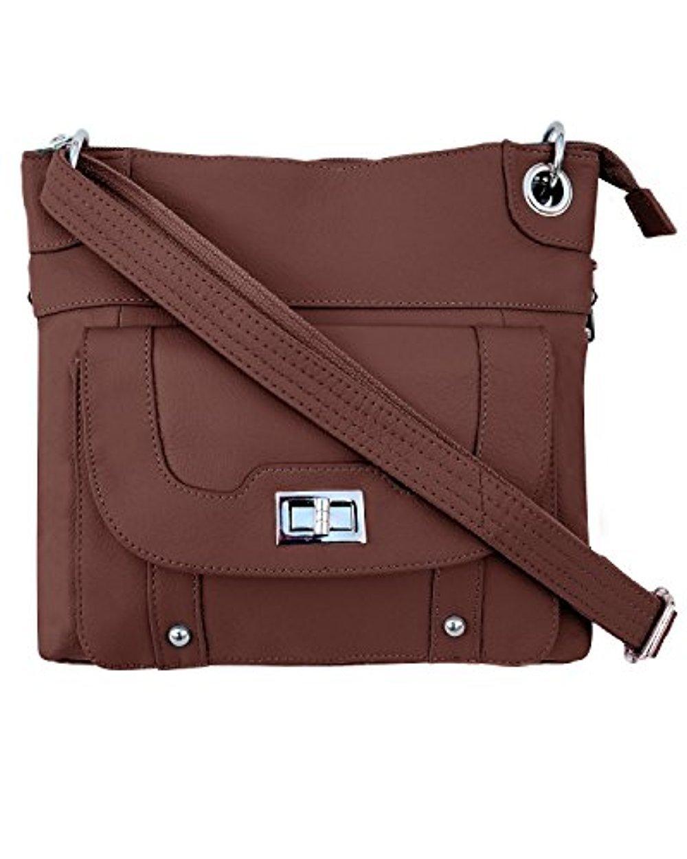 Roma Leathers Gun Concealment Crossbody Bag Cowhide Leather, Metal Twist Lock Buckle -Brown