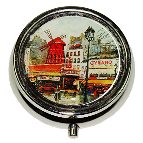 Souvenirs of France - Paris 'Moulin Rouge' Pill Box with 3 Compartments
