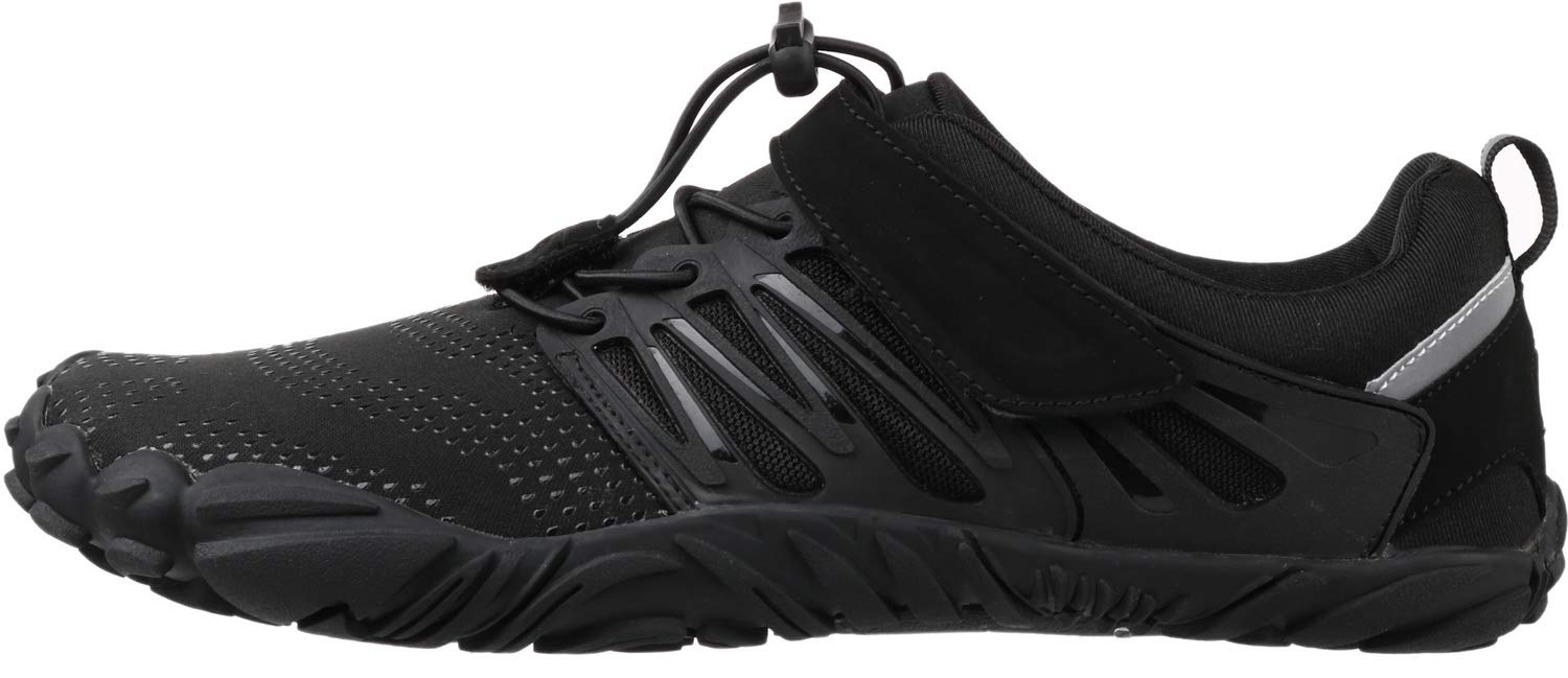 WHITIN Men's Trail Running Shoes Minimalist Barefoot 5 Five Fingers Wide Width Toe Box Gym Workout Fitness Low Zero Drop Male Walking Trainer Cross Training Crossfit Black Size 8 by WHITIN (Image #3)