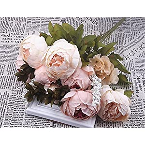 XIAOHESHOP XHSP 1Bouquet 11 Heads Artificial Peony Flower Leaves Home Wedding Party Decor Pink 4