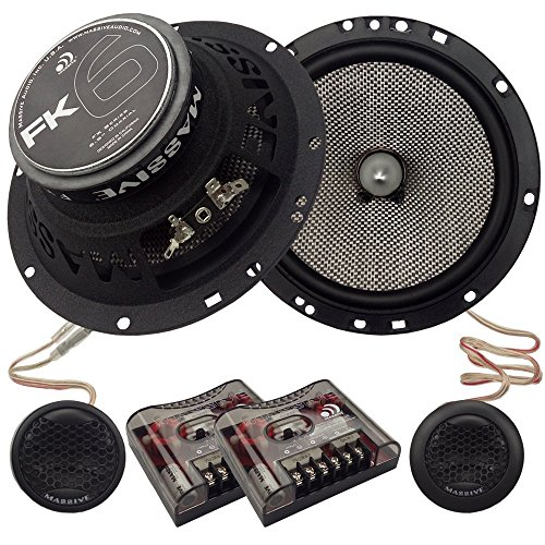 Massive Audio FK6 - 6.5 Inch, 320 Watts Max Hi Quality Component Speakers, FK Series, 20mm Aluminum Dome Ferro Fluid, 12dB Linksworth Riley Crossover, 4 Ohm (Sold AS Pair)