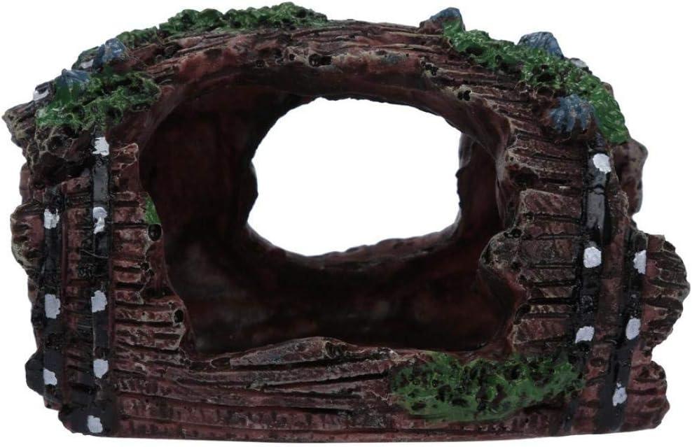 Ogquaton Fish Tank Aquarium Cave Resin Broken Barrel Ornament Landscape Decor Creative and Useful