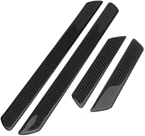 Autogood Car Door Sill Plate Protectors- Universal Carbon Fiber Pattern Door Entry Guards Sill Scuff Cover Panel Step Protector 4PCS
