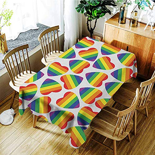 XXANS Spill-Proof Table Cover,Pride,Cute Heart Shapes in LGBT Colors Striped Design with Homosexuality Liberation Theme,High-end Durable Creative Home,W54x90L Multicolor