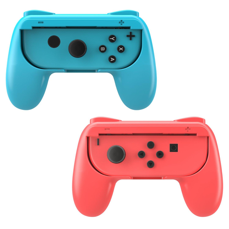 MoKo Grip for Nintendo Switch Joy-Con, 2-Pack [Ergonomic Design] Wear-Resistant Game Controller Handle Kit for Nintendo Switch Joy-Con (Red and Blue) product image