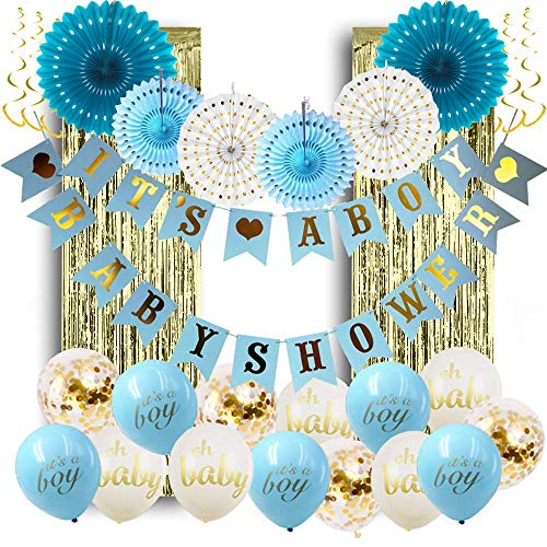 Baby Shower Decorations for Boy; Its a Boy Baby Shower Hollow Paper Fan Balloons Banner Gold Foil Fringe Curtain Kit for Baby Shower Party Decoration