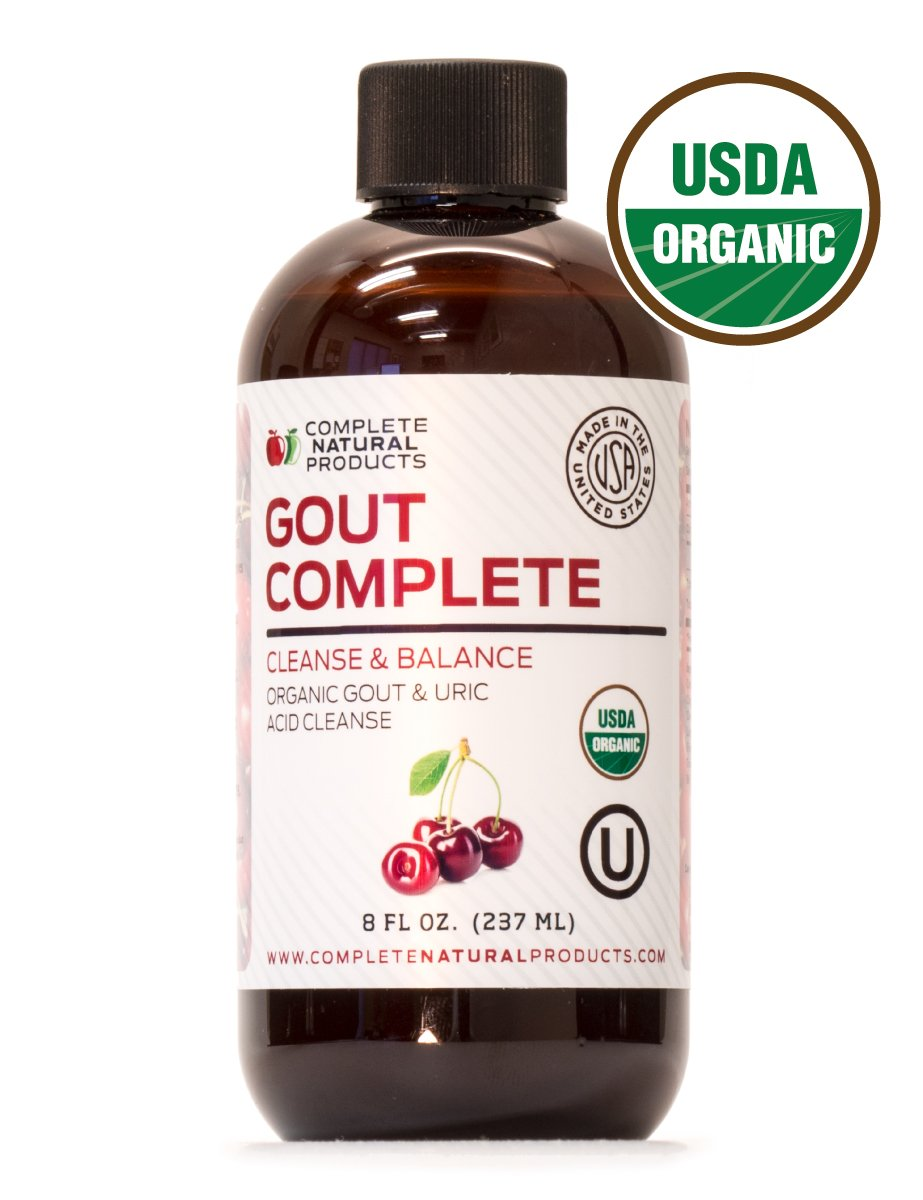 Gout Complete 8oz - Natural & Organic Liquid Uric Acid Flush & Herbal Remedy Support Medicine (W/Tart Cherry)