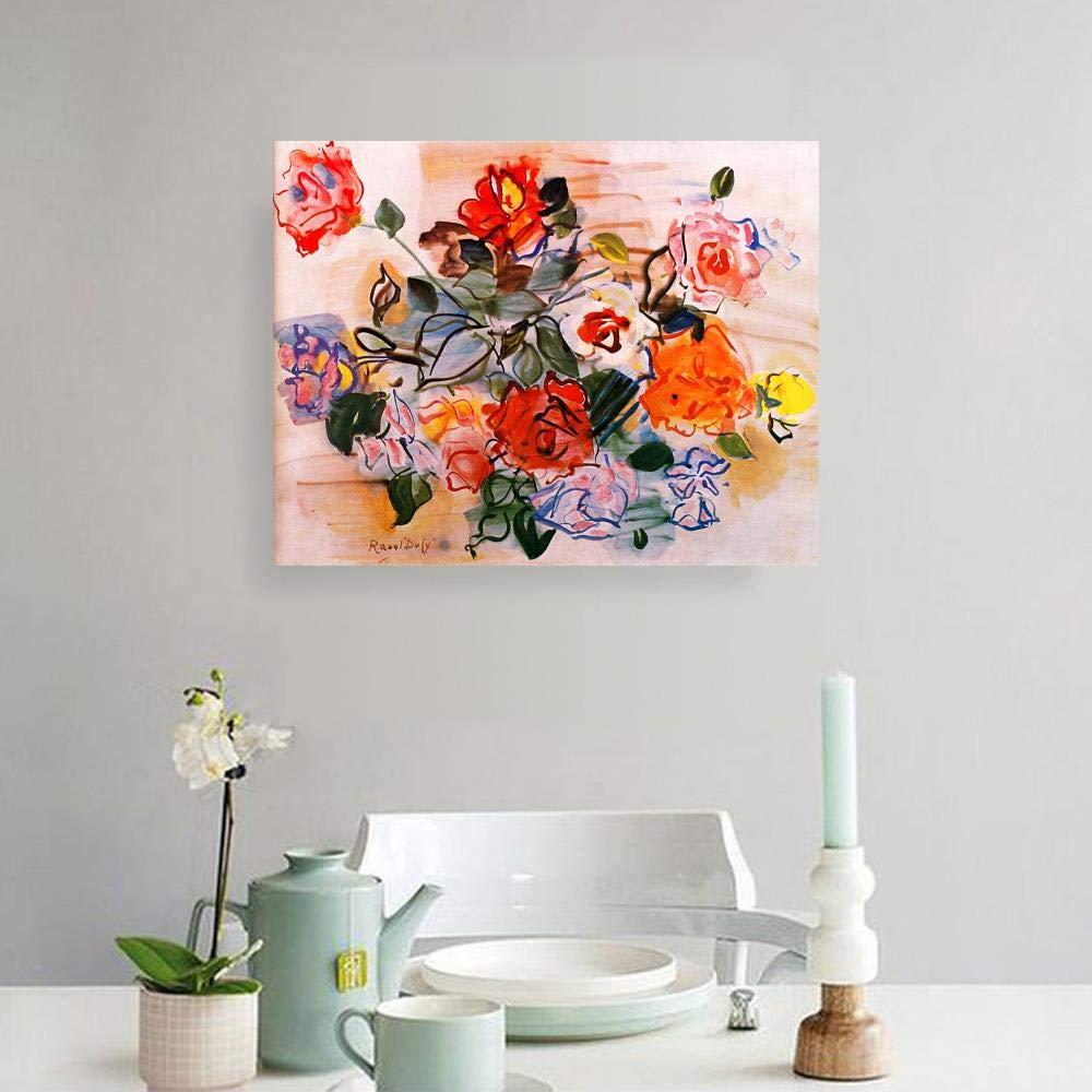JH Lacrocon Peintures /à la Main An/émones Von Raoul Dufy 60X50 cm Reproduction Toile Nature Morte Art Fauvista Arte Deco Decorativo Geom/étricos Poster Roul/ée