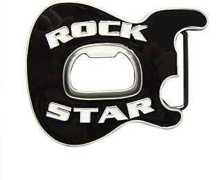 New Vintage Black Enamel Rock Music Guitar Belt Buckle With Beer Bottle Opener