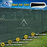 Alion Home HDPE Privacy Screen For Pool, Patio, Deck, Balcony, Railing, Fence. Without Black Binding, Dark Green (3'x 14')