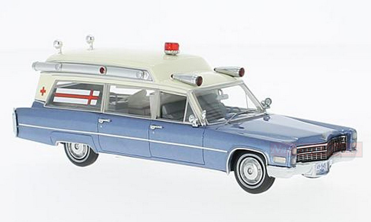 NEO SCALE MODELS NEO49545 CADILLAC SS MET.BLUE/WHITE AMBULANCE 1966 1:43 MODEL