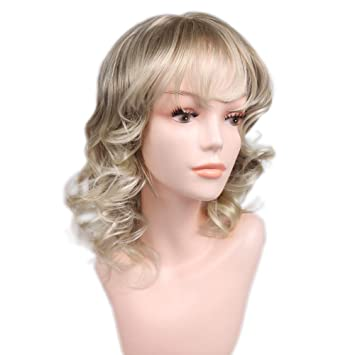 Quick Wig Blonde Wavy Wigs With Bangs Short Bob Curly Wig Daily 16 quot   Cosplay Party 8a5ad06cd7e3