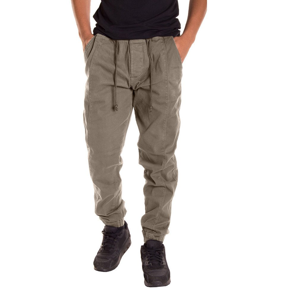 Clearance Sale! Charberry Mens Solid Color Casual Tether Elastic Tooling Pants Slacks Casual Elastic Sportwear Baggy Pants Veralls (US-L/CN-XL, Khaki)