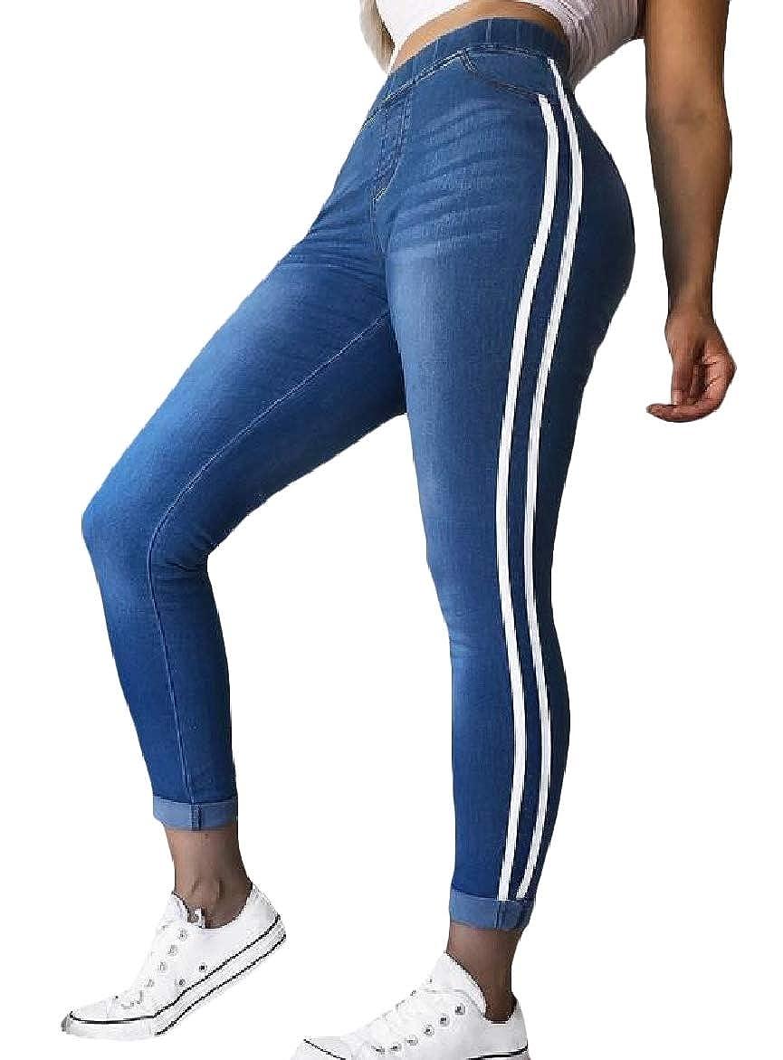 SportsX Womens Plus-Size Stylish Elastic Waist Bodycon Splicing Denim Pants