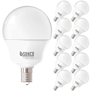 Sunco Lighting 10 Pack G14 LED Globe, 5W=40W, Candelabra Bulb, 450 LM, 4000K Cool White, Small Edison Screw Base E12, Frosted - UL