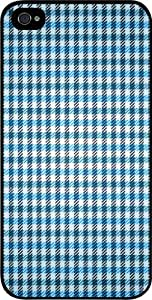 Blue and Green Gingham Pattern Iphone 4 plastic black case - compatible with Iphone 4 4S