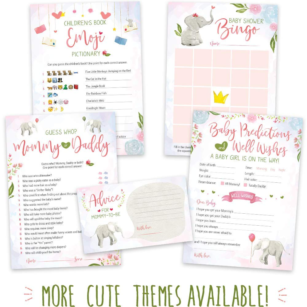 Baby Shower Games for Girls - Pink Elephant Theme - Pack of 5 Activities for 50 Guests, 5x7 Cards | Baby Shower Decorations for Girls, Favors, Party Supplies