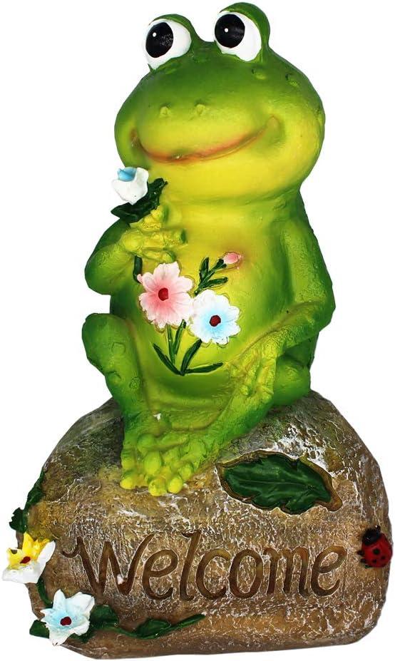 XAUIIO 9 Inch Frog Garden Welcome Statues Sculptures,for Outdoor Patio Ornaments Yard Art Figurines Decorations(Frog Dad)