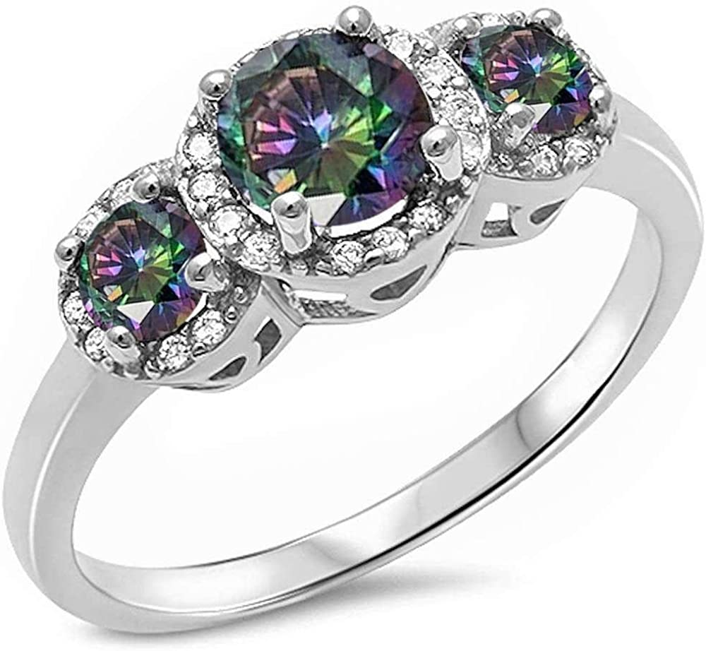 Princess Kylie Halo Set Clear Cubic Zirconia Round Three Stone Ring Sterling Silver