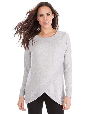 b29759c17cd4a Seraphine Women's Grey Marl Crossover Maternity & Nursing Sweater Size  XSmall