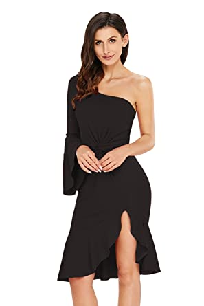 43228187e0942 Lalagen Women's One Shoulder Bodycon Mermaid Prom Party Midi Dress Black L
