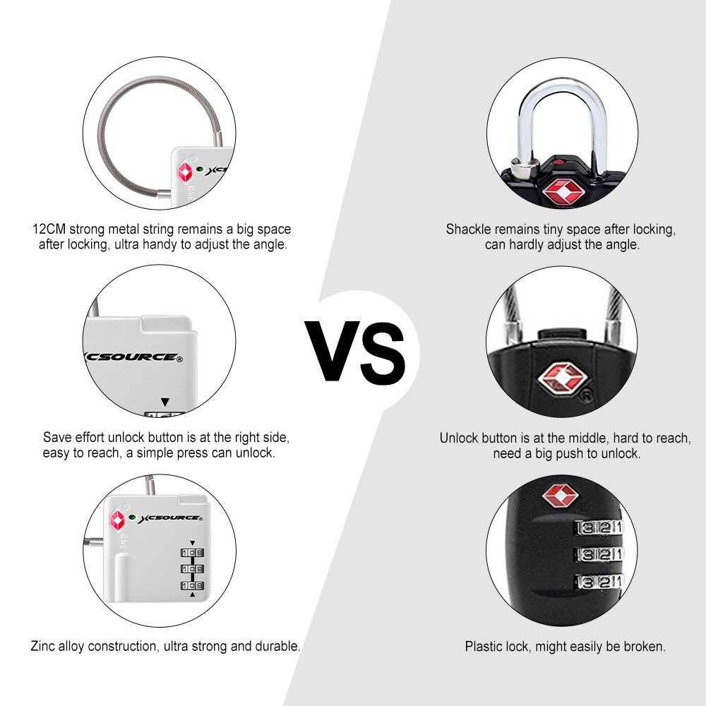 Black+Silver TSA Lock 2pcs Suitcase Luggage Lock Travel Backpack 3-Digit Combination Security Padlock with Open Alert Indicator