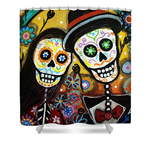 Pixels Shower Curtain (74'' x 71'') ''Wedding Dia De Los Muertos'' by Pixels