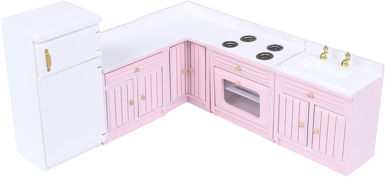 Haomian Dollhouse Kitchen Furniture Kit 1:12 Dollhouse Miniature Furniture Wooden Kitchen Cabinet Fridge Set Kitchen Dining Room Furniture for 1:12 Dollhouse Miniatures Scenes Accessories