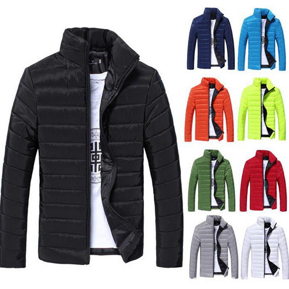 Dihope Homme Veste en Coton Épaise Chaude Manteau à Manches Longues Doudoune Jacket Blazer Loisir Parka Coat Outwear Automne Hiver Bleu