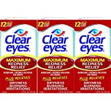 Clear Eyes Maximum Redness Relief Eye Drops-Also Relieves Drying, Burning & Irritations -.05 Ounce Per Box-3 Boxes Total