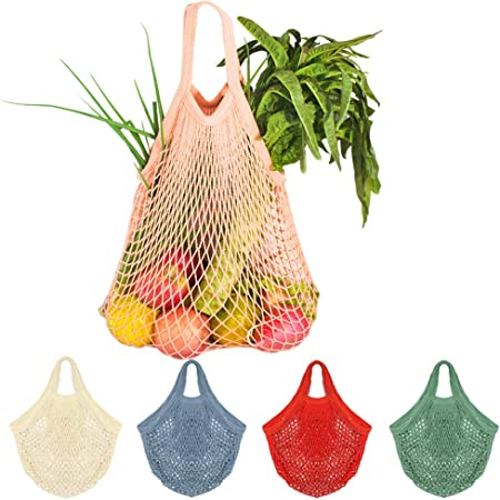5 Bolsas de Malla Reutilizables Bolsa Rejilla para La Compra de Playa Algodón Bolsa Red con asa para Frutas Y Verduras En Forma de Red(5 Colores): Amazon.es: Hogar