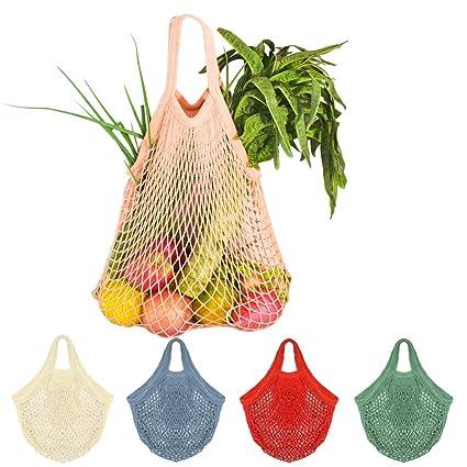 5Pcs Net Cotton String Shopping Bag, Creatiee Reusable Mesh Market Tote Organizer for Grocery Shopper Produce Storage Beach Toys Fruit Vegetable - ...