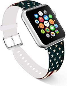 Ecute Compatible with Apple Watch Band 38mm 40mm, Soft Leather Band Strap Compatible with iWatch Series 6/5/4/3/2/1 - American Flag