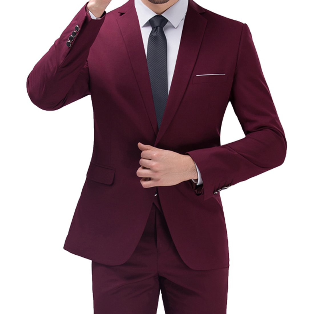 Jearey Mens Blazer Casual Slim Fit Lapel Suit Jacket One Button Daily Business Dress Coat (Wine Red, X-Large)