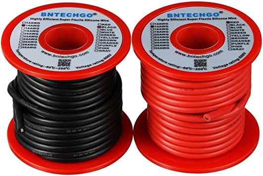 Soft and Flexible High Temperature Resistant Highly Efficient 11 AWG Silicone Wire 750 Strands of Tinned Copper Wire bntechgo.com 5 ft Black and 5 ft Red BNTECHGO 11 Gauge Silicone Wire 10 feet 2 Colors
