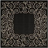 """Safavieh Courtyard Collection CY5139D Black and Beige Indoor/ Outdoor Square Area Rug, 7 feet 10 inches Square (7'10"""" Square)"""