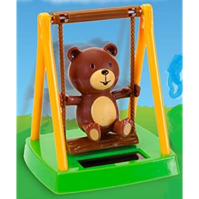 1 X Solar Powered Swinging Bear - Swings on Playground in Sunlight by Greenbriar International