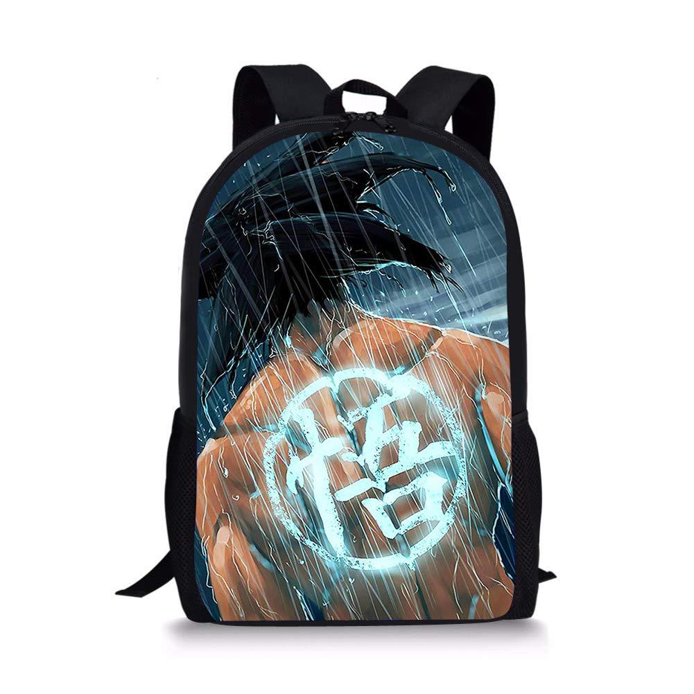 POLERO Anime Dragon Ball Z Childrens Backpack Vintage Campus Schoolbag Cute Kids Shoulder Bookbag Rucksack Cartoon Daypack Outdoor Travel Bags for Girls and Boys