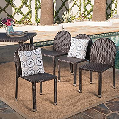 Amallie Outdoor Multibrown Wicker Stacking Chairs with an Aluminum Frame (Set of 4) -  - patio-furniture, patio-chairs, patio - 61nL01oOstL. SS400  -