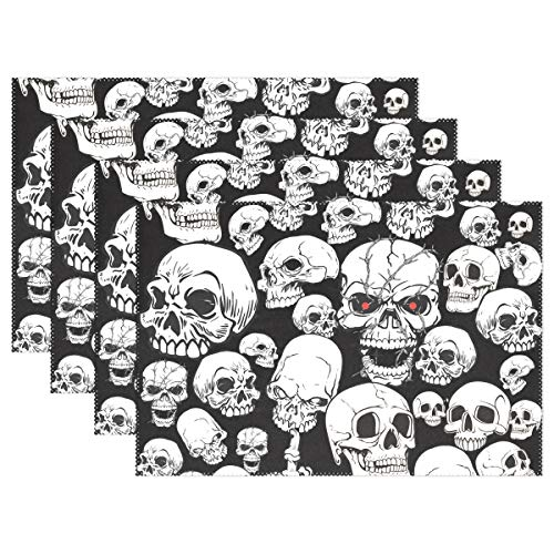 HEOEH Scary Skull Red Eye Fuck Finger Placemats Table Mat Heat Resistant Washable Place Mats for Kitchen Dining Room