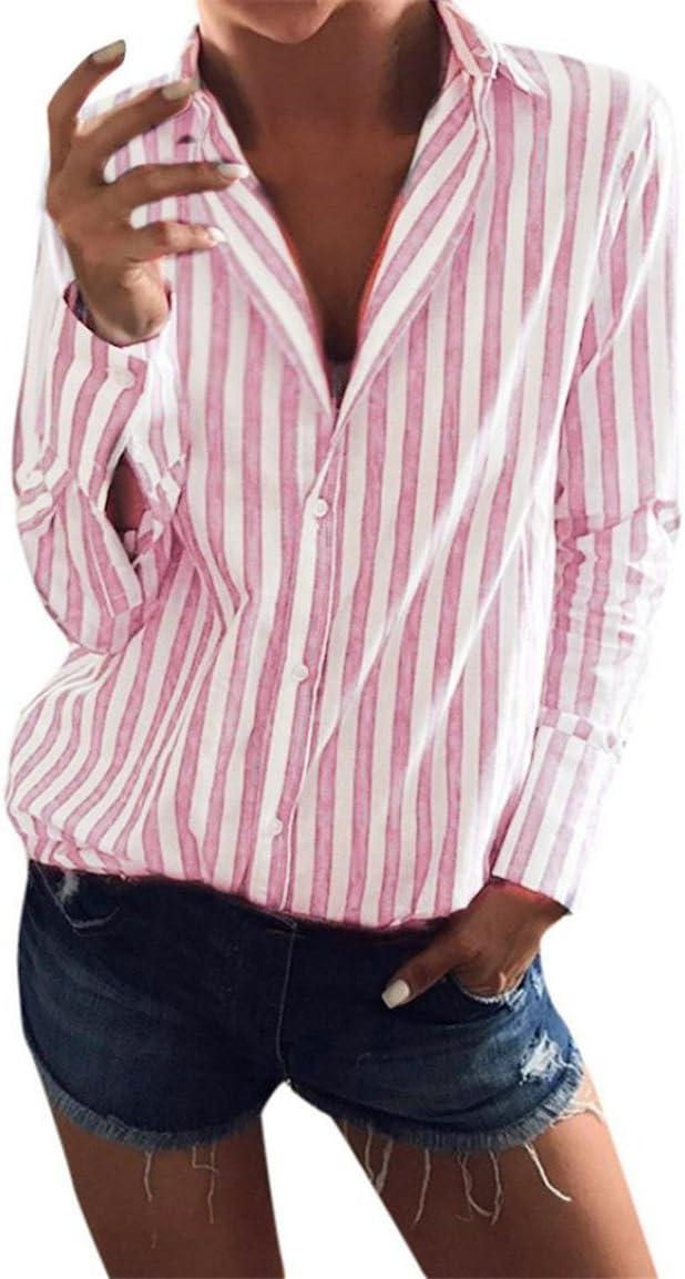 bellelove Mesdames de manga larga camisa mujeres rayas Tops ...