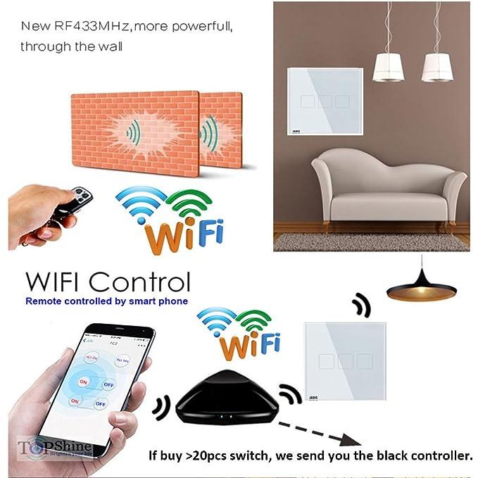 Pantalla táctil interruptor de luz Smart RF 433,92 mhz Interruptor de pared, UE estándar con mando a distancia 3 Gang 4 way lujo cristal endurecido cristal ...